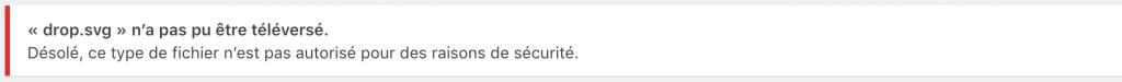 Le message d'erreur lors de l'envoi d'un type de fichier non autorisé dans WordPress